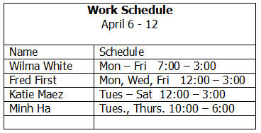 Reading a work schedule thecheapjerseys Images